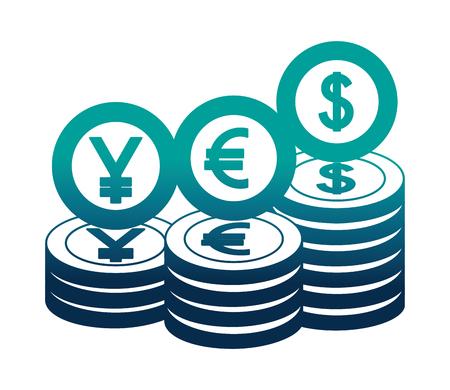 dollar euro and yen coins vector illustration design