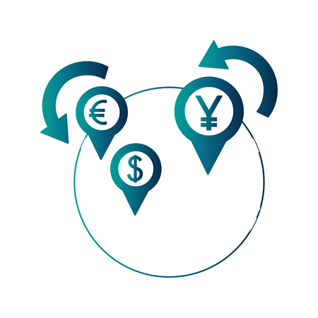 dollar euro and yen business with planet vector illustration design