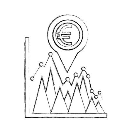 coin euro in pin pointer location with statistical graphic vector illustration design  イラスト・ベクター素材