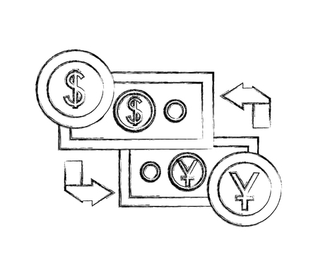 international currencies and bills isolated icon vector illustration design