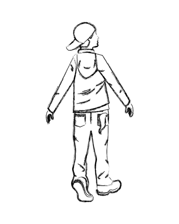 hipster man back view in casual clothes vector illustration hand drawing