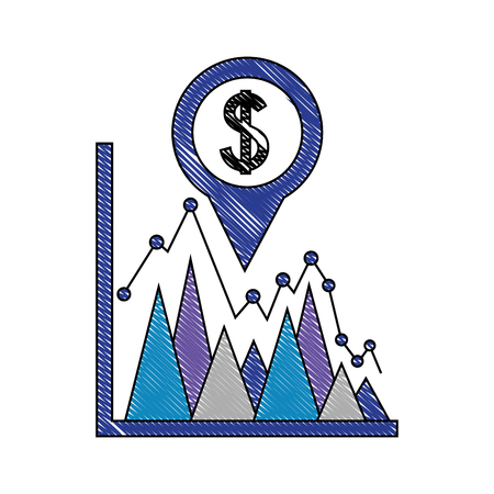 coin dollar in pin pointer location with statistical graphic vector illustration design