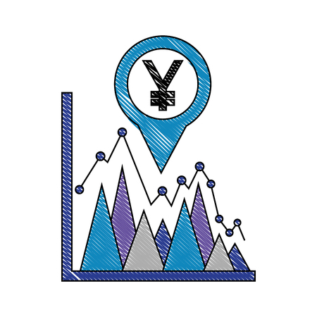 yen economy in pin pointer with statistical graphic vector illustration design 일러스트