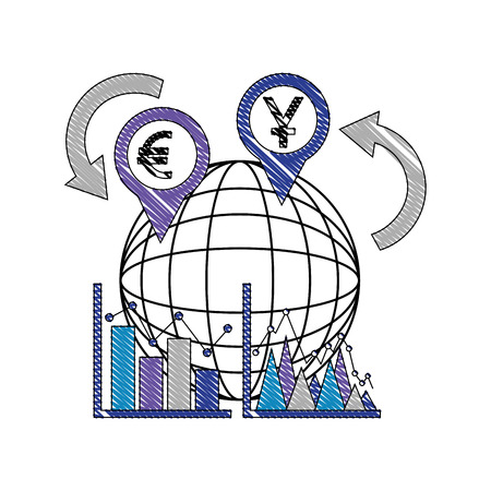 international money in pin pointer with sphere and statistical graphic n vector illustration design