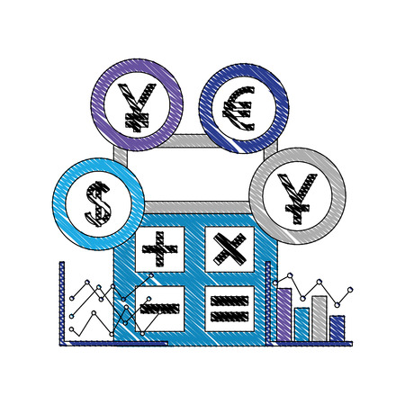 international currencies with calculator and statistical graphic vector illustration design  イラスト・ベクター素材