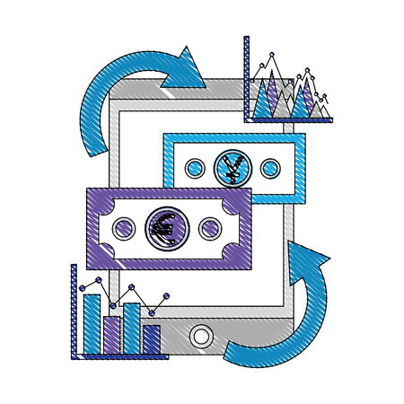 international money with tablet device and statistical graphic vector illustration design