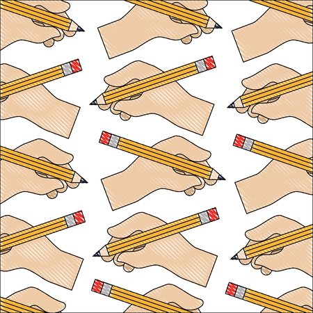 hand with pencil write pattern vector illustration design
