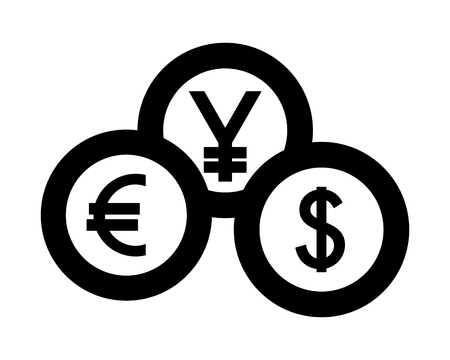 foreign exchange currency coins yen euro dollar vector illustration  イラスト・ベクター素材