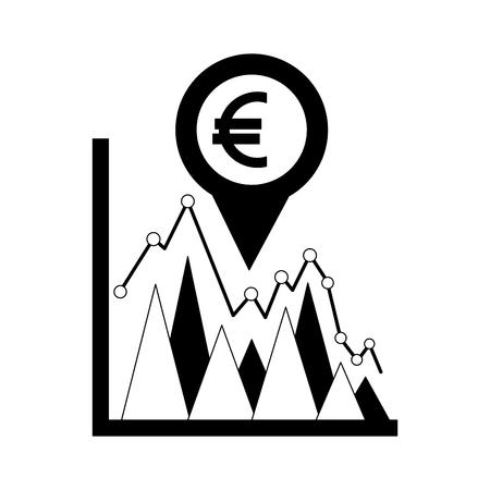 Geschäftsstatistik Euro-Währungs-Pin-Standort-Devisen-Vektor-Illustration