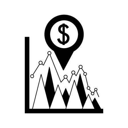business statistics dollar currency pin location foreign exchange vector illustration Standard-Bild - 111662741