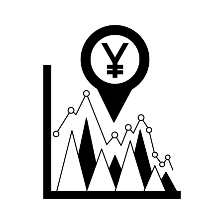 business statistics yen currency pin location foreign exchange vector illustration