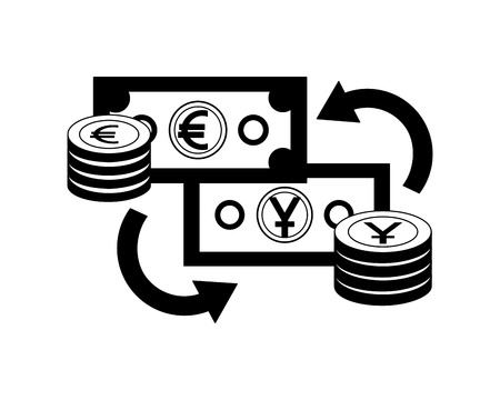 foreign exchange bills yen and euro coins stacked currency vector illustration Foto de archivo - 111662753