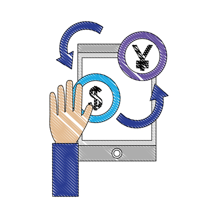 hand with international currencies and tablet device vector illustration design Illustration
