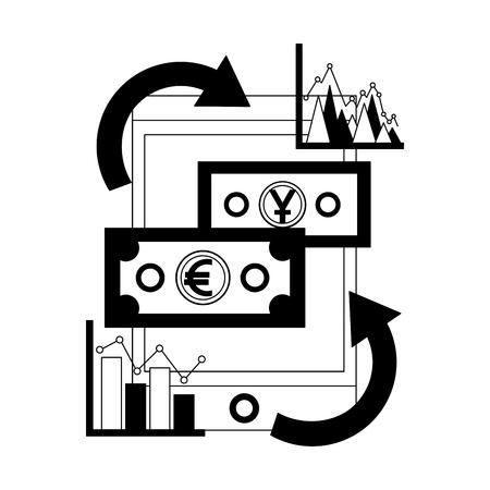 smartphone money yen and euro diagram report foreign exchange vector illustration
