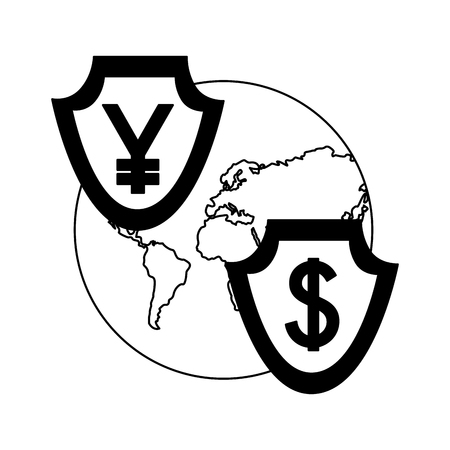 business world yen and dollar shield currency foreign exchange vector illustration