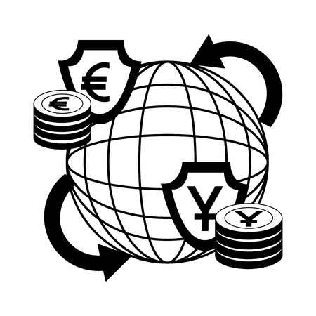 world trade business money euro yen foreign exchange vector illustration