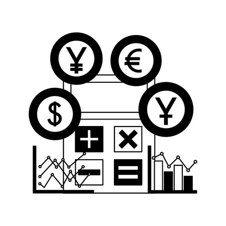 business calculator diagrams chart coins money vector illustration