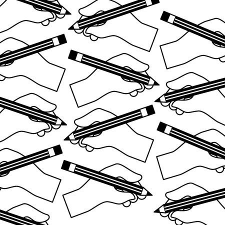 hands holding pencil creativity design pattern vector illustration