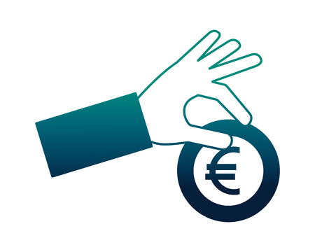 hand holding coin euro currency money vector illustration neon