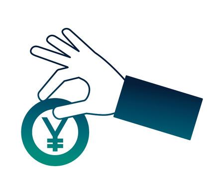 hand holding coin yen currency money vector illustration neon Иллюстрация