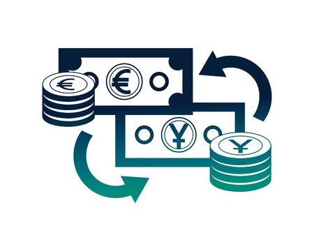 Devisenwechsel Yen und Euro-Münzen gestapelt Währungsvektorillustration Neon
