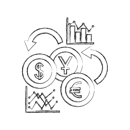 international currencies with statistical graphic vector illustration design