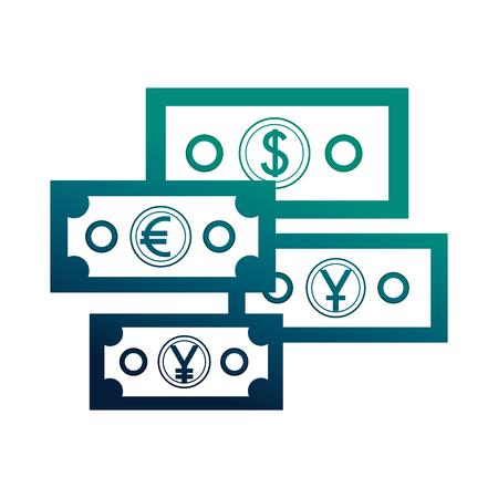business economy banknote dollar euro yen money vector illustration neon