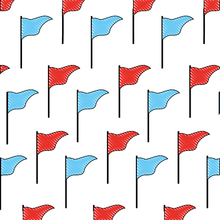 flag marker in stick pattern vector illustration design
