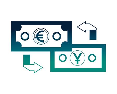 foreign exchange money banknote yen euro transfer vector illustration neon Illustration