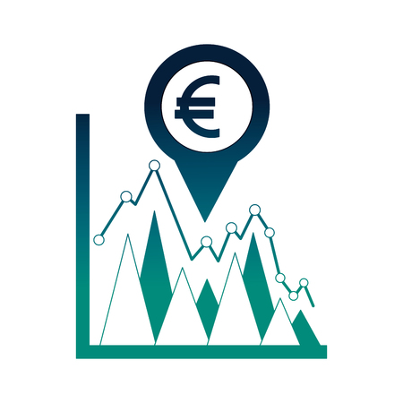 business statistics euro currency pin location foreign exchange vector illustration neon