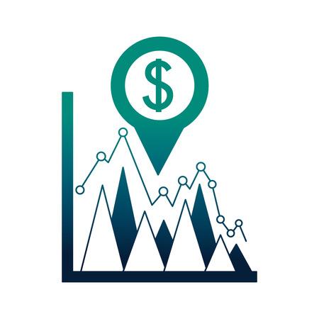 Statistiche aziendali valuta dollaro posizione pin valuta estera illustrazione vettoriale neon Vettoriali
