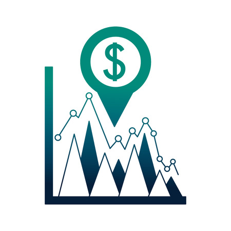 business statistics dollar currency pin location foreign exchange vector illustration neon Illustration