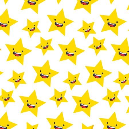 cute star kawaii pattern vector illustration design Illustration