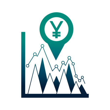 business statistics yen currency pin location foreign exchange vector illustration neon