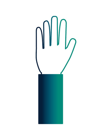 human hand showing five finger palm vector illustration neon