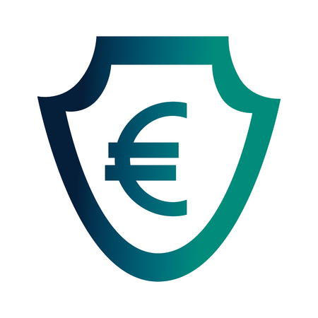 currency such as shield euro symbol foreign exchange vector illustration neon Imagens - 107030139