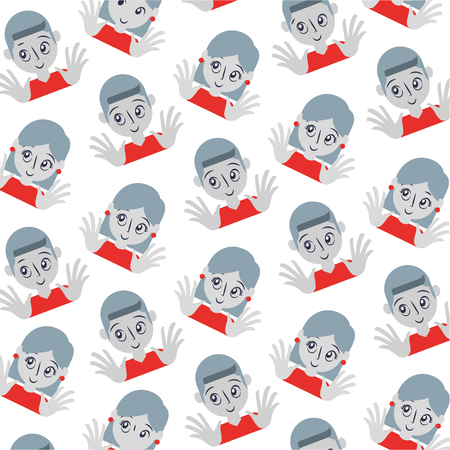 young couple avatar pattern vector illustration design