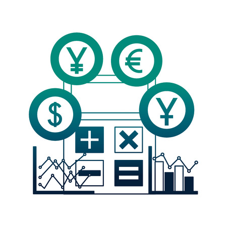 business calculator diagrams chart coins money vector illustration neon