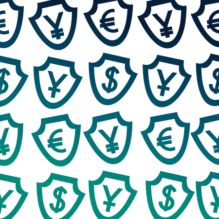 currency shield yen dollar euro symbol foreign exchange pattern vector illustration neon