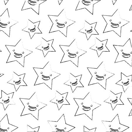 kawaii cartoon stars happy character pattern vector illustration hand drawing