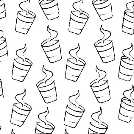 paper coffee cup hot beverage pattern vector illustration hand drawing