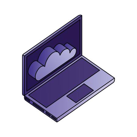 laptop computer cloud storage network data vector illustration