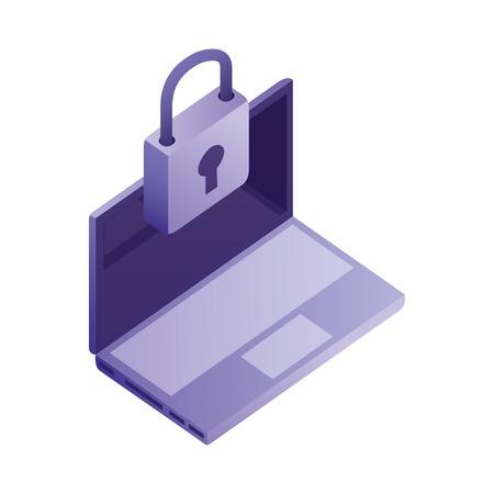 laptop computer padlock security network data vector illustration