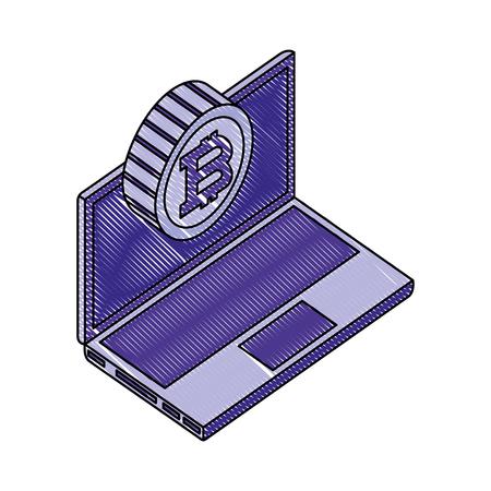 laptop computer bitcoin network data vector illustration