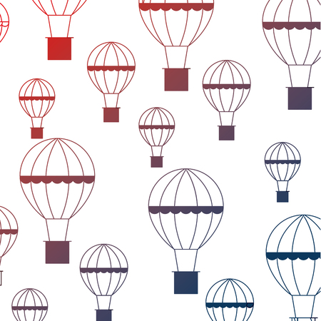balloon air hot flying pattern vector illustration design