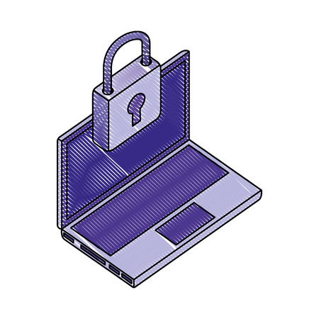 laptop computer padlock security network data vector illustration