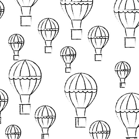 hot air balloons flying recreation pattern vector illustration hand drawing 写真素材 - 107035654