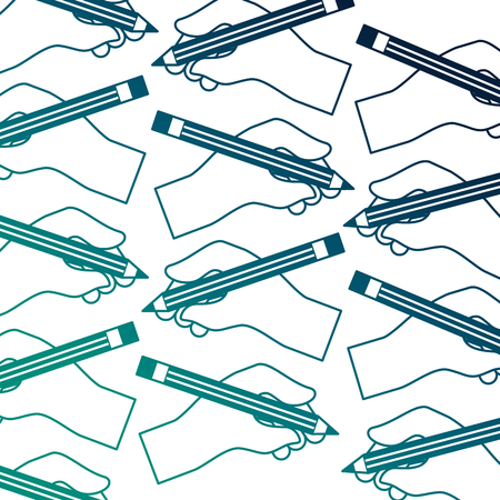 hands holding pencil creativity design pattern vector illustration neon