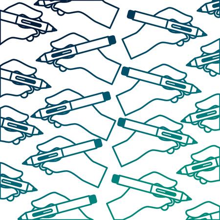hands holding fountain pen creativity design pattern vector illustration neon