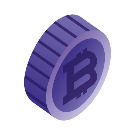 currency coin bitcoin digital virtual money vector illustration Illustration